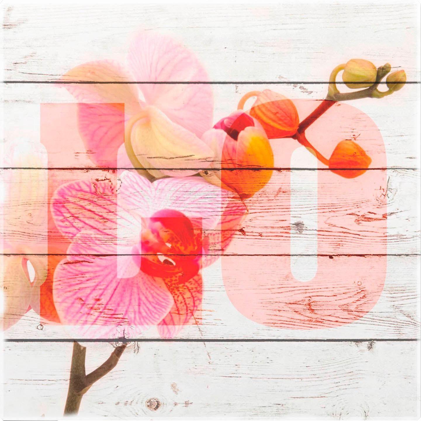 Holzbild »Orchidee« 40/40 cm