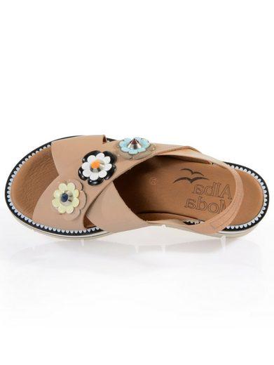 Alba Moda Sandalette mit Blumen im Retro-Stil