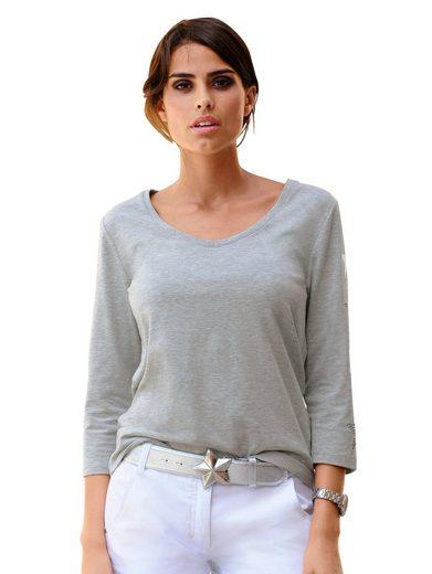 Alba Moda Shirt mit metallicfarbenem Sternprints