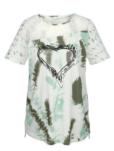 MIAMODA Shirt mit transparentem Spitzeneinsatz