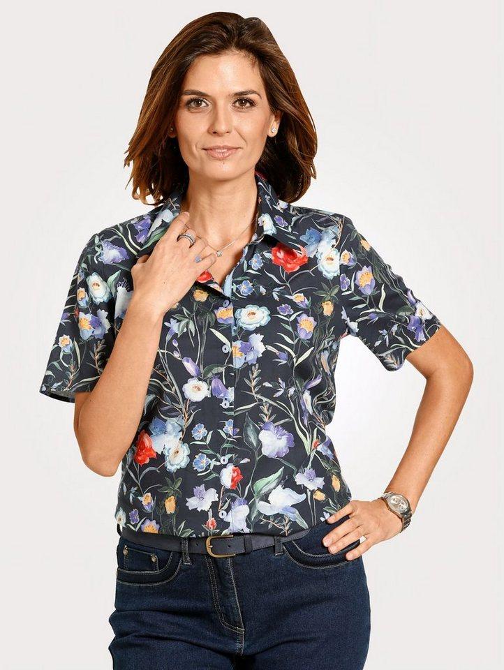 Damen Mona Bluse mit Blumendessin blau   04055716403054