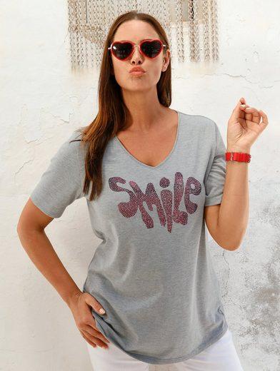 MIAMODA Shirt mit Schriftzug aus Nieten