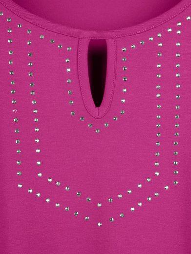 MIAMODA Shirt mit funkelnden Nieten am Ausschnitt