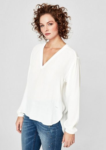 TRIANGLE Kombistarke Bluse aus feinem Crêpe