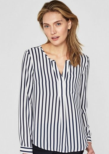 S.oliver Black Label Stripe Blouse With Transparency Effect
