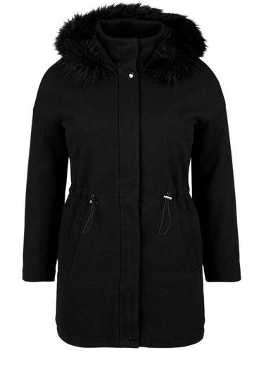 TRIANGLE Mantel mit Fake-Fur-Kapuze