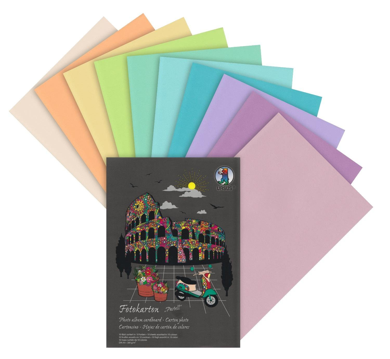 """URSUS Fotokarton-Block """"Pastell A4"""" 10 Blatt"""