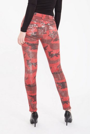 Blue Monkey Skinny-fit-Jeans Lilly 1811, mit Tarnmuster und Glanzfinish