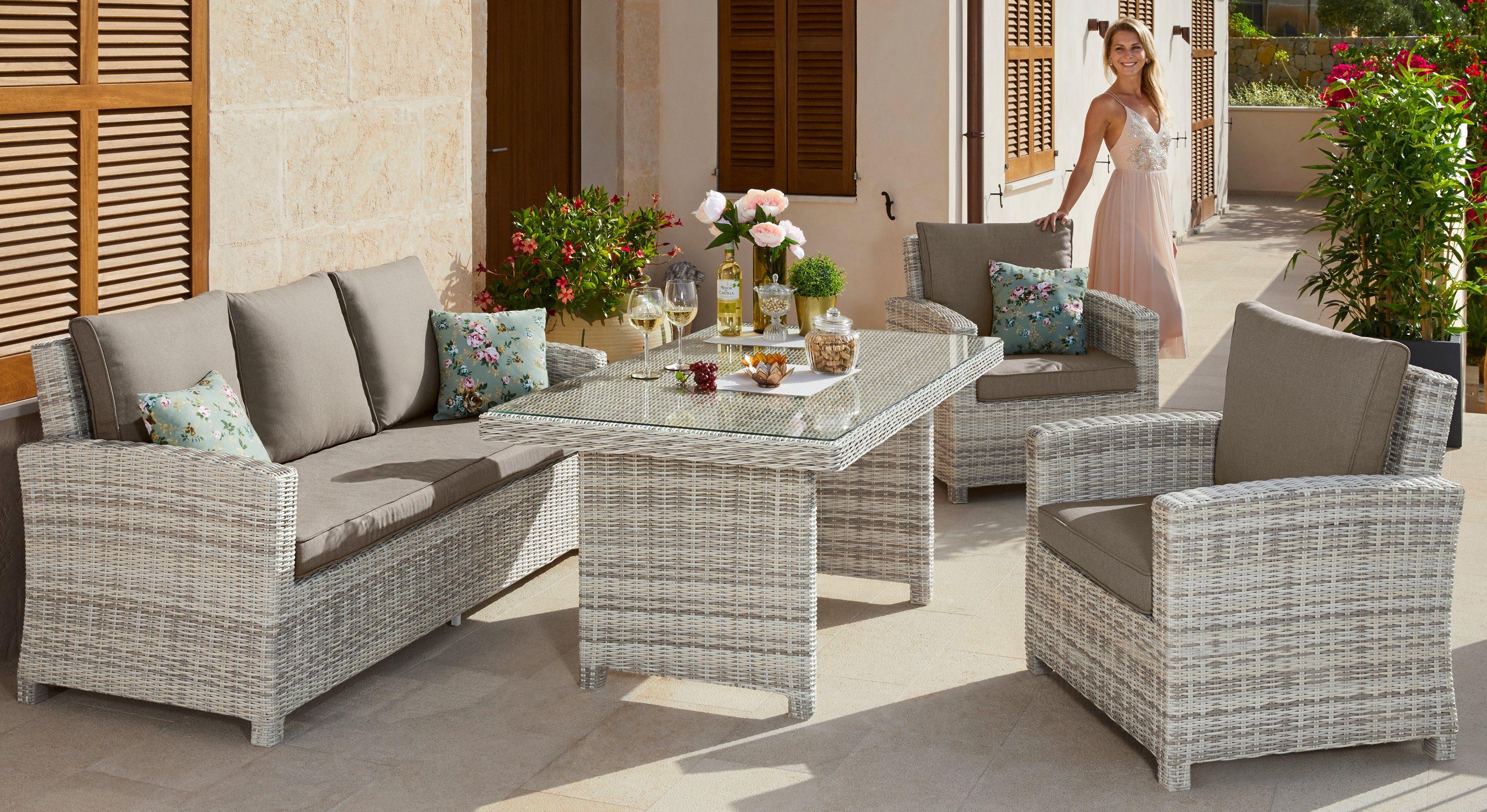 KONIFERA Gartenmöbelset »Bolero«, 15- tlg., Bank, 2 Sessel, Tisch 150x90 cm, Polyrattan, weiß