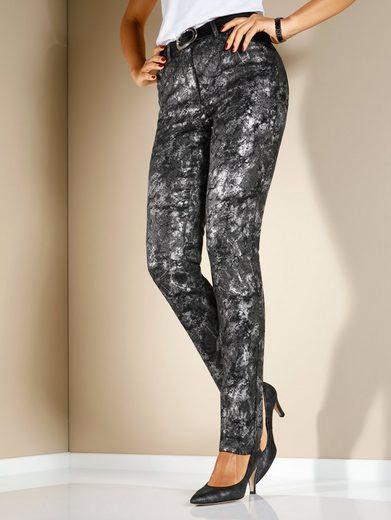 MIAMODA Jeans mit glänzendem Druck in Metallic-Optik
