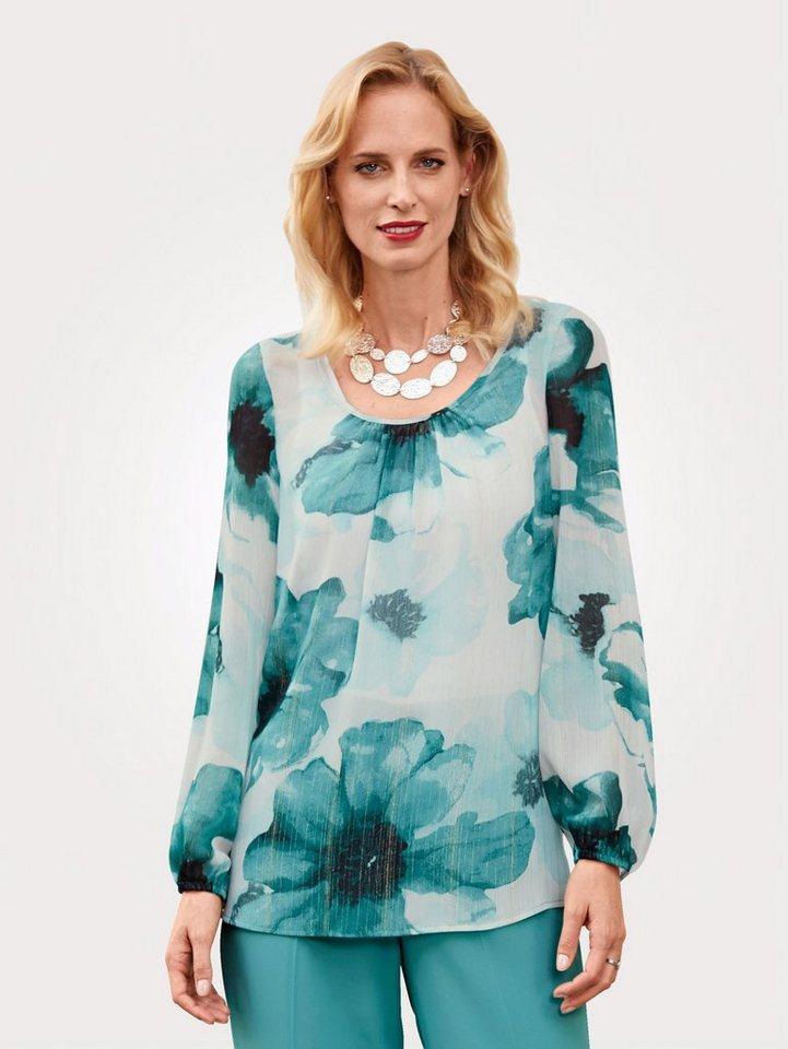 Damen Mona Schlupfbluse mit Glanzgarn grün   04055716346498
