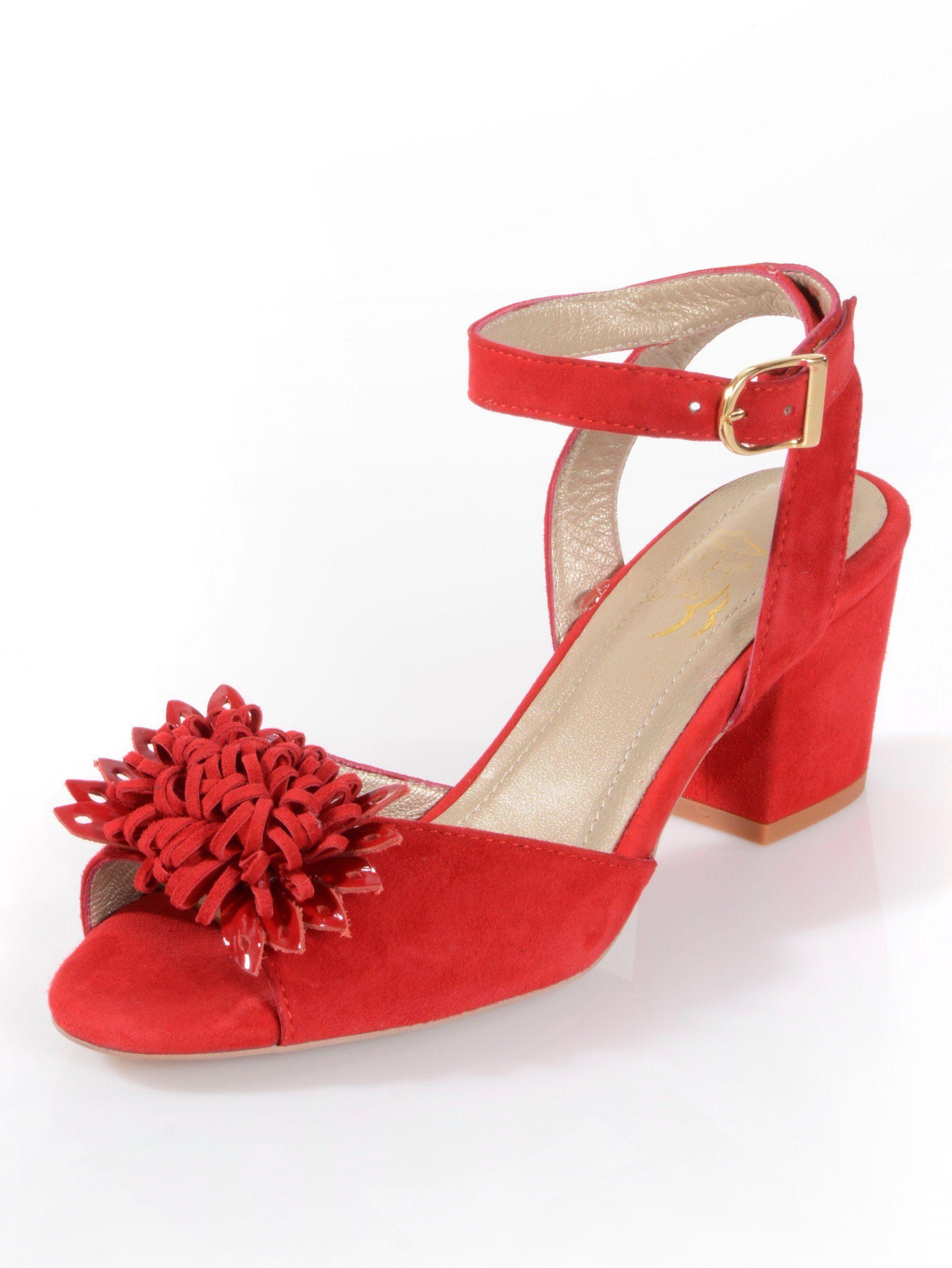 Alba Moda Sandalette aus weichem Ziegenveloursleder online kaufen  rot