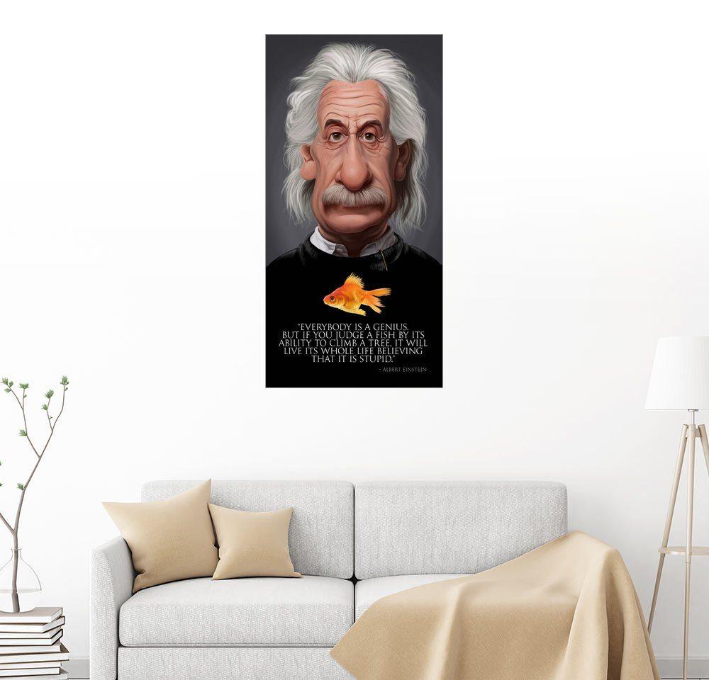 Posterlounge Wandbild - Rob Snow   caricatures »Albert Einstein - Fish Quote«