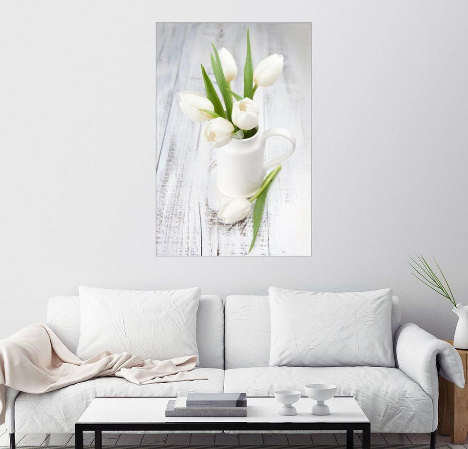 posterlounge wandbild wei e tulpen auf gewei tem holz online kaufen otto. Black Bedroom Furniture Sets. Home Design Ideas