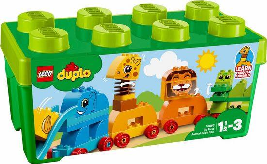 LEGO® Konstruktionsspielsteine »Meine erste Steinebox mit Ziehtieren (10863), LEGO® DUPLO®«, (34 St)