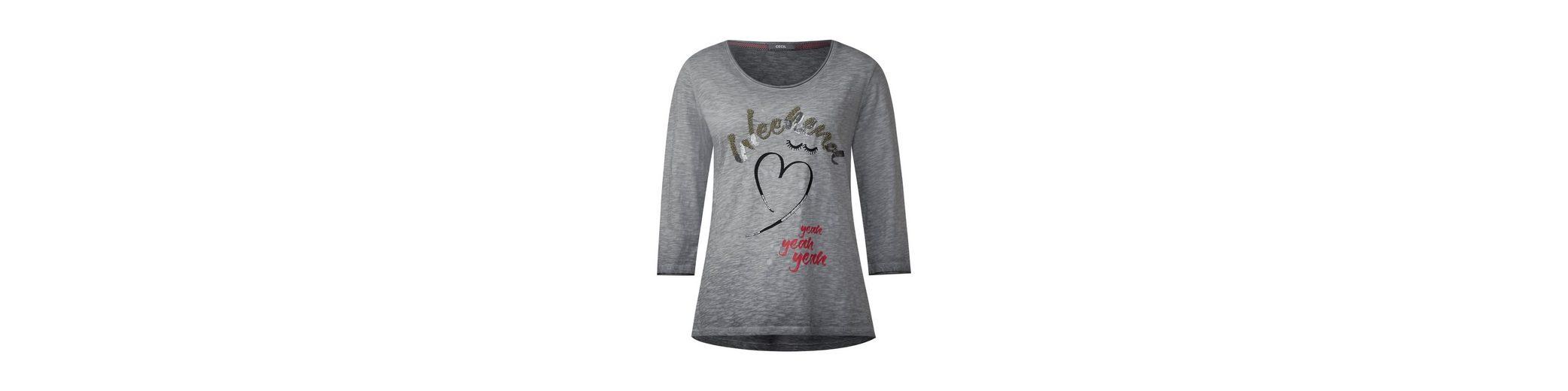Lieferung Frei Haus Mit Kreditkarte Spielraum Neu CECIL Verziertes Burn-Out Shirt Vorbestellung Top-Qualität Verkauf Online Bz4DJX
