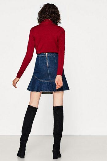 Edc By Esprit Godet-skirt In Cotton Denim
