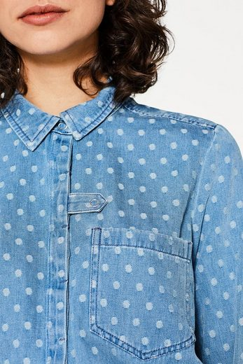 EDC BY ESPRIT Getupfte Jeans-Bluse, Baumwolle