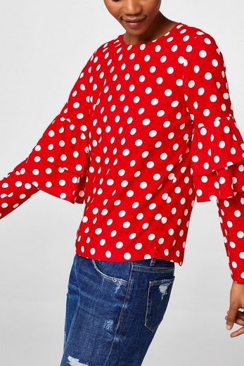 EDC BY ESPRIT Boxy Polka-Dot-Bluse mit Volants