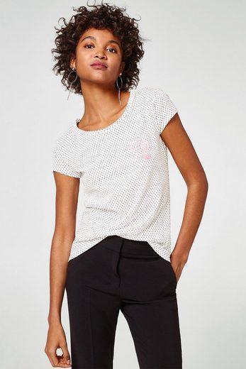 EDC BY ESPRIT Gepunktetes T-Shirt aus Baumwolle