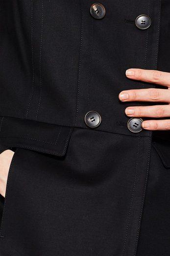 ESPRIT COLLECTION Baumwoll-Stretch-Mantel mit Stehbund