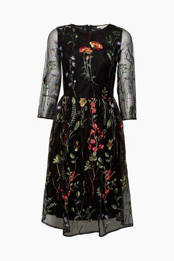 ESPRIT Feminines Mesh-Kleid mit Blumen-Stickerei