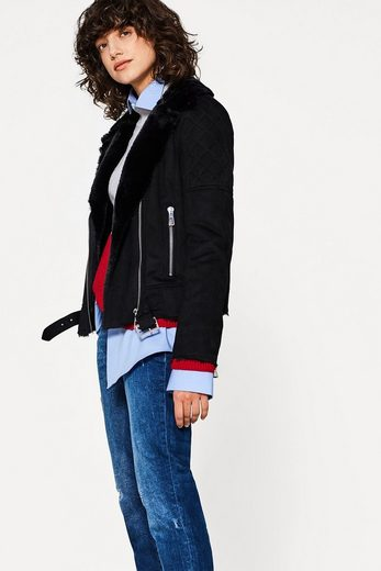 EDC BY ESPRIT Biker-Jacke in Shearling-Optik
