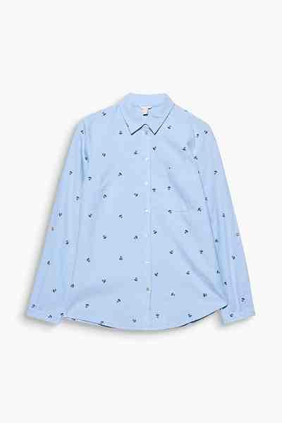 ESPRIT CASUAL Hemdbluse mit Stickerei, 100% Baumwolle