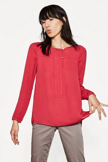 ESPRIT COLLECTION Fließende Crépe-Bluse mit Frontblende