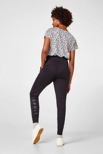 ESPRIT Jersey-Stretch-Pants mit Glanz-Logo