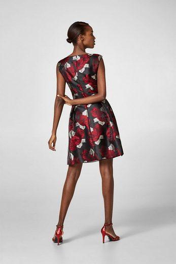 ESPRIT COLLECTION Seidig schimmerndes Kleid mit Blumen