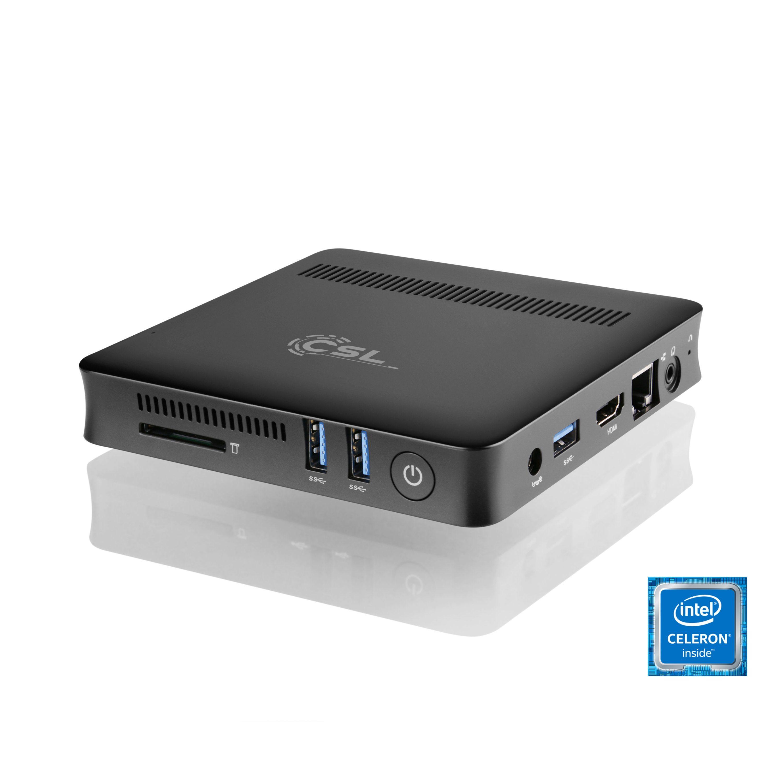 CSL Silent Mini PC - lautlos, Bluetooth, WLAN, 4GB RAM »Narrow Box UHD Compact, Win 10 Pro«