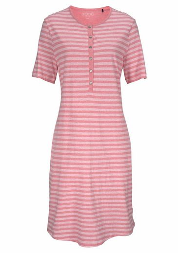 Schiesser Nightdress With Stripes In Pastel Tones