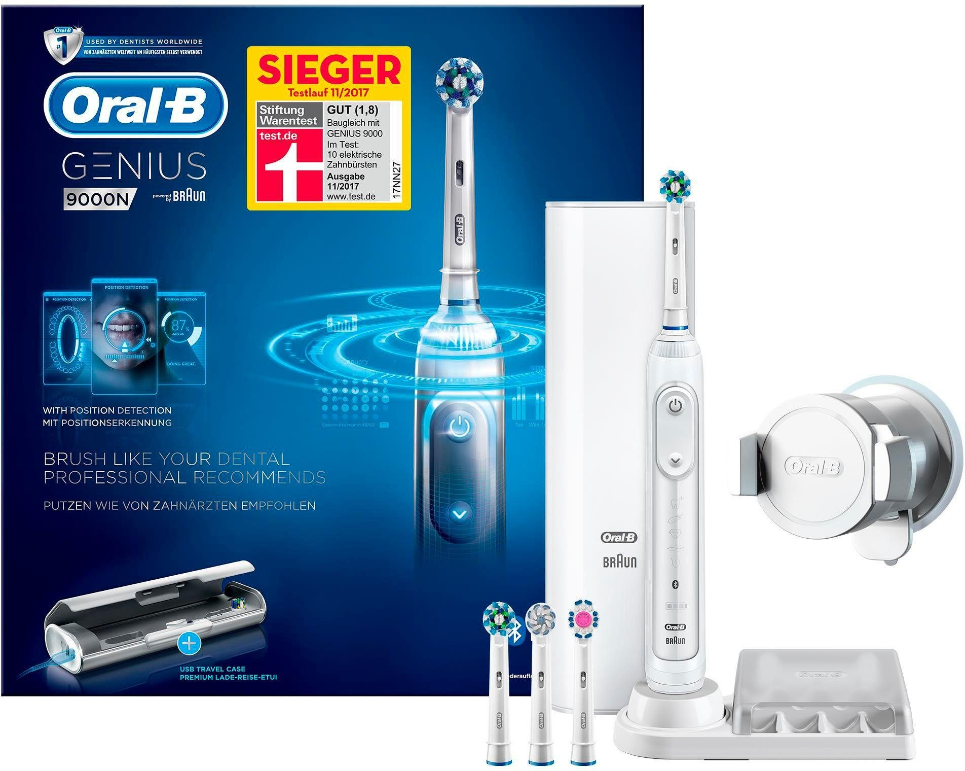 Oral B Elektrische Zahnbürste Genius 9000N, Aufsteckbürsten: 4 St., Smartphone-Halterung, Sieger bei Stiftung Warentest (11/2017)