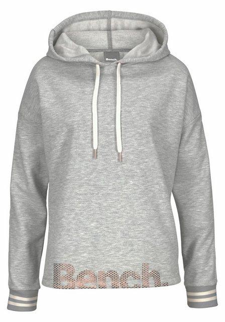 Damen Bench. Kapuzensweatshirt mit gestreiften Bündchen und Glanzprint grau | 04260406764340