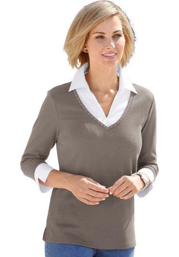 Damen Collection L. Shirt mit effektvollen Glitzersteinchen am Ausschnitt braun | 08901594328650