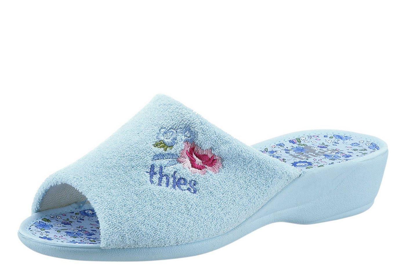Thies Pantoffel mit bestickter Blumen-Applikation   Schuhe > Hausschuhe > Pantoffeln   Blau   Classic