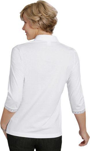 Shirt mit aufwändig gearbeiteter Spitze am Kragen