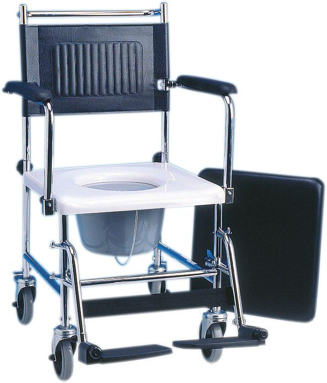 Fahrbarer Toilettenstuhl mit abnehmbarem Sitzpolster