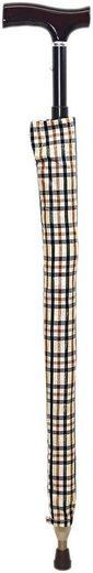 Stockschirm – Gehstock und attraktiv karierter Regenschirm in einem