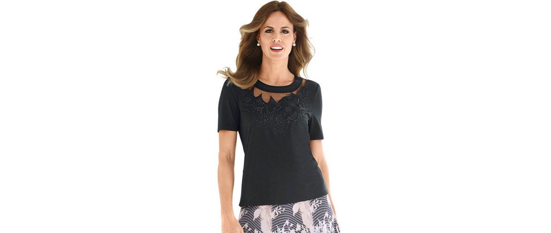 Lady Shirt mit extravaganten Blütenstickereien Rabatte Günstiger Preis Ausverkaufspreise Geniue Händler Online Freies Verschiffen Klassische ZiSgAOFR3P