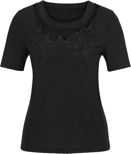 Lady Shirt mit extravaganten Blütenstickereien