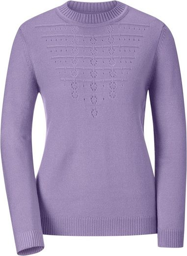 Pullover mit Ajourmuster in V-Form im Vorderteil