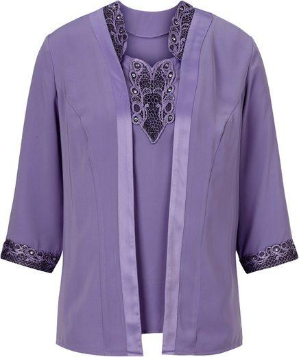 Lady Blusenset: Top + Bluse mit edlen Akzenten aus Spitze und Satin