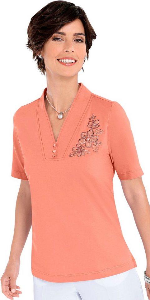 Classic Basics Shirt mit Blütenstickerei