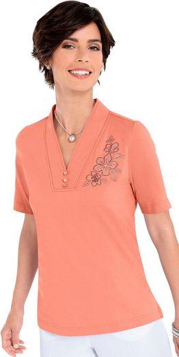 Shirt mit Blütenstickerei