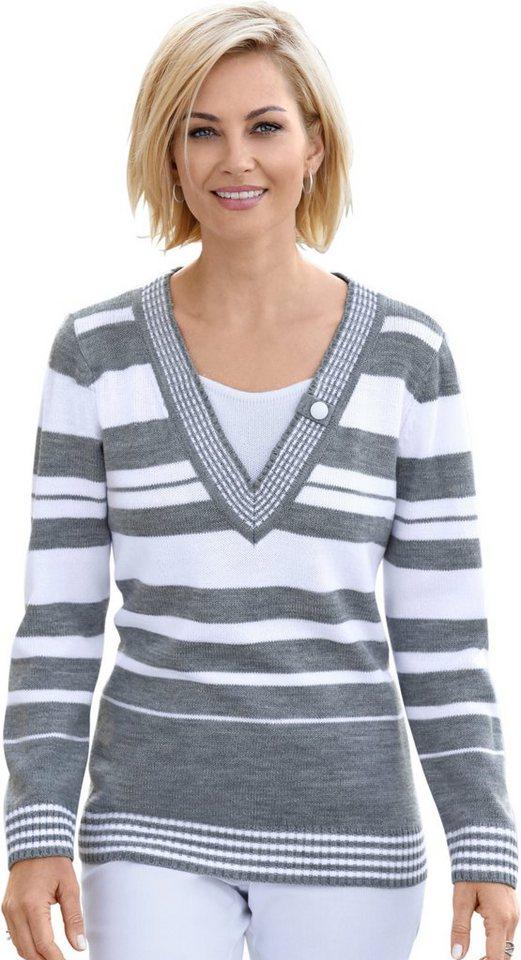 Damen Collection L. Pullover mit unifarbenem Einsatz am Ausschnitt grau | 08994832065219