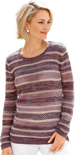 Collection L. Pullover mit Ringelmuster und Ajourmuster
