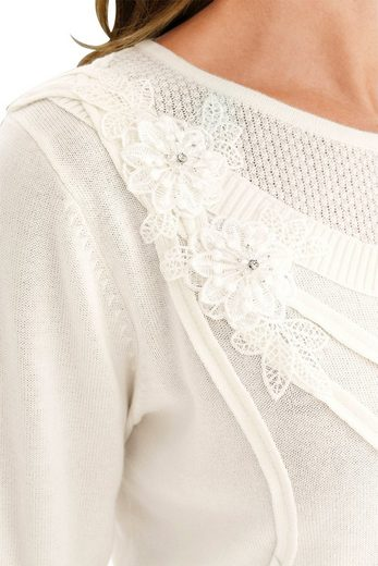 Lady Pullover mit Blüten- und Glitzer-Elementen