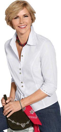 Classic Bluse mit aufgesetzter Spitze am Krage